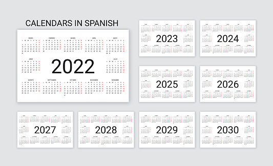 Spanish Calendar 2022, 2023, 2024, 2025, 2026, 2027, 2028, 2029, 2030 years. Simple pocket template. Vector illustration.