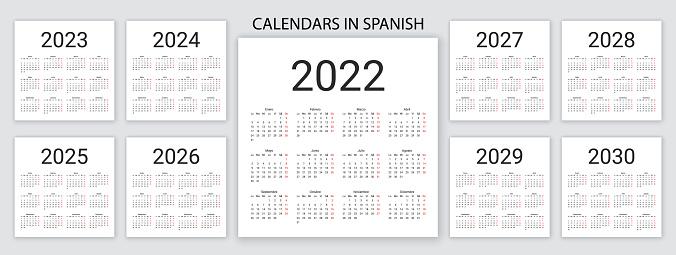 Spanish Calendar 2022, 2023, 2024, 2025, 2026, 2027, 2028, 2029, 2030 years. Vector illustration. Simple template.