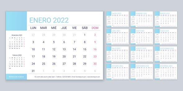 Spanish calendar 2022 year. Planner template. Vector illustration.