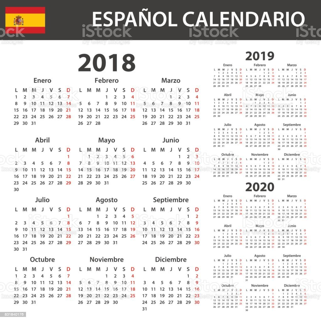 spanish calendar for 2018 2019 and 2020 scheduler agenda or diary template