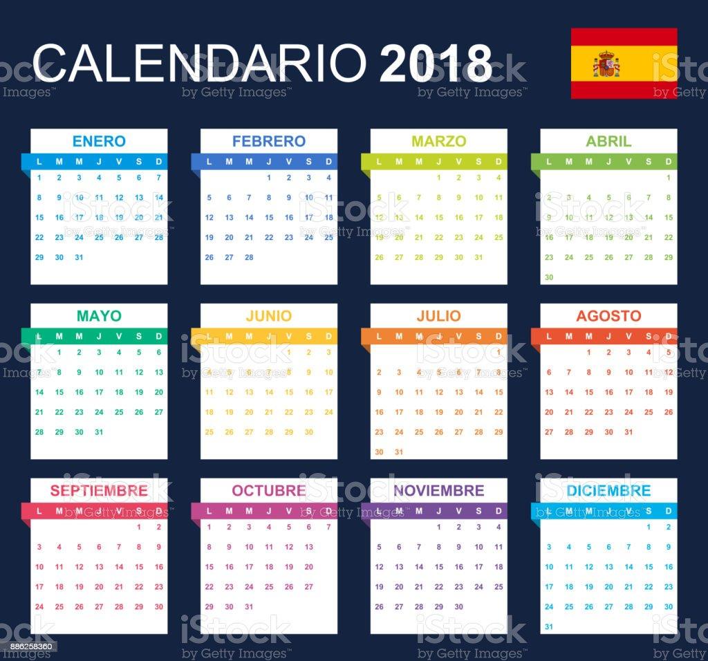 Spanische Kalender Für Das Jahr 2018 Scheduler Agenda Oder Tagebuch ...