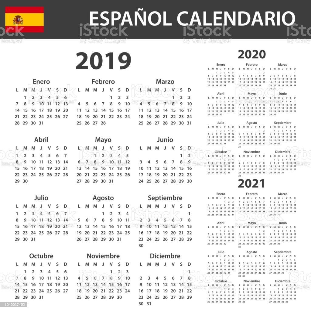 Spanish Calendar For 2019 2020 And 2021 Scheduler Agenda ...