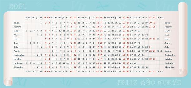Spanish Calendar of 2021 year on parchment with Feliz año nuevo text (Happy New Year)
