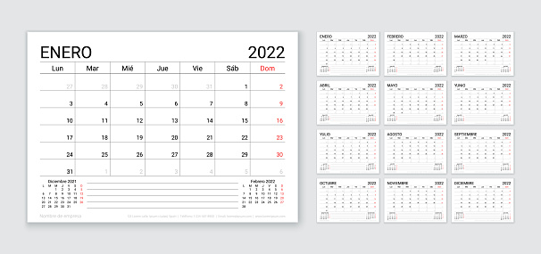 2022 Spanish calendar. Table planner layout. Vector illustration. Yearly grid of calender.