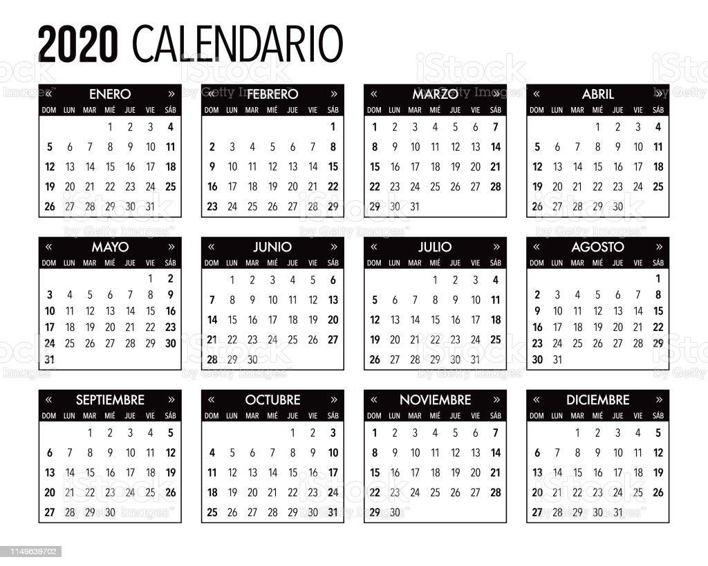 Calendario Agosto 2020 Espana.Ilustracion De 2020 Diseno De Plantilla De Calendario