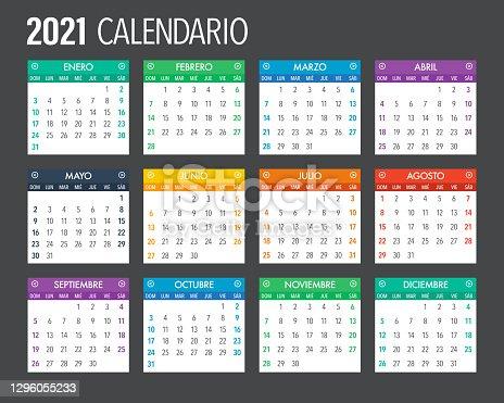 istock 2021 Spanish Calendar Template Design 1296055233