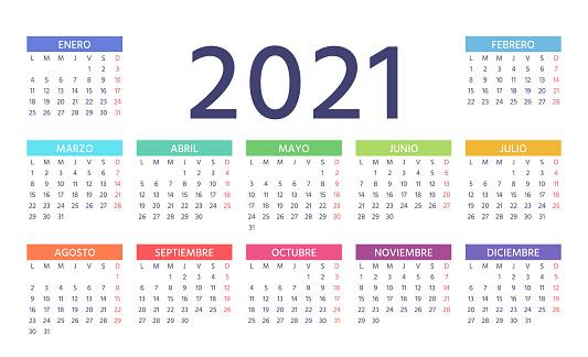 2021 Spanish Calendar. Vector illustration. Color template year planner.