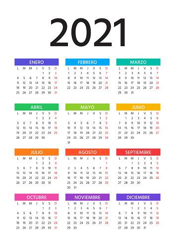 2021 Spanish Calendar. Vector illustration. Template, layout year planner.