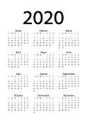 Spanish Calendar 2020 year. Week starts Monday. Vector. Spain calender template. Yearly stationery organizer in minimal design. Vertical portrait orientation.