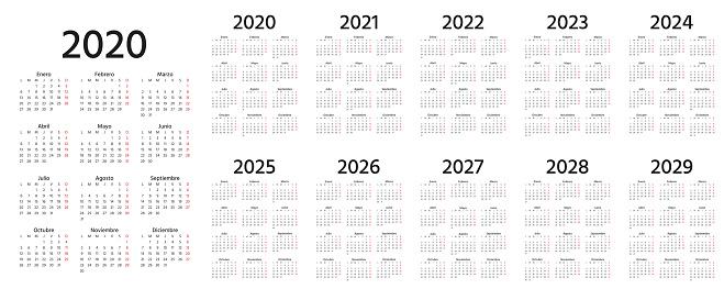 2020 Spanish Calendar. Vector illustration. Template year planner.