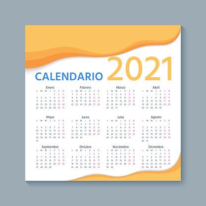 2021 Spanish Calendar. Vector illustration. Template year planner.