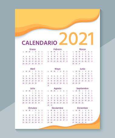 2021 Spanish Calendar. Week starts Monday. Vector illustration.