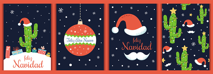 Spanish Christmas cards set Text Feliz Navidad Ano Nuevo Christmas cactus Santa hat Vector elements