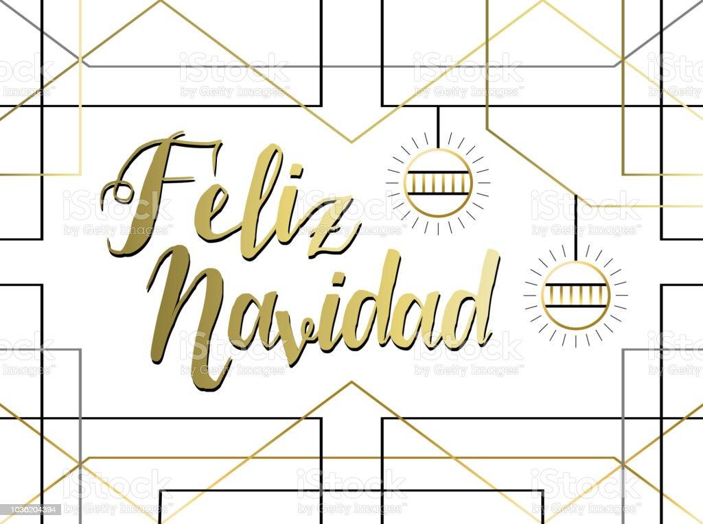 Spanish Christmas Greeting Card In Gold Line Art Stock Vector Art ...