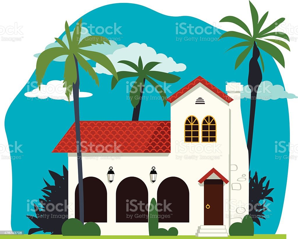 Spanish colonial home vector art illustration