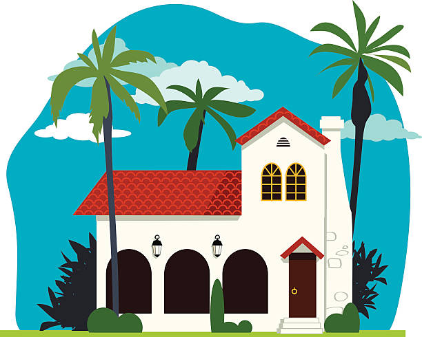 Spanish colonial home Spanish colonial or mission revival house vector illustration, no transparencies, EPS 8 mission church stock illustrations