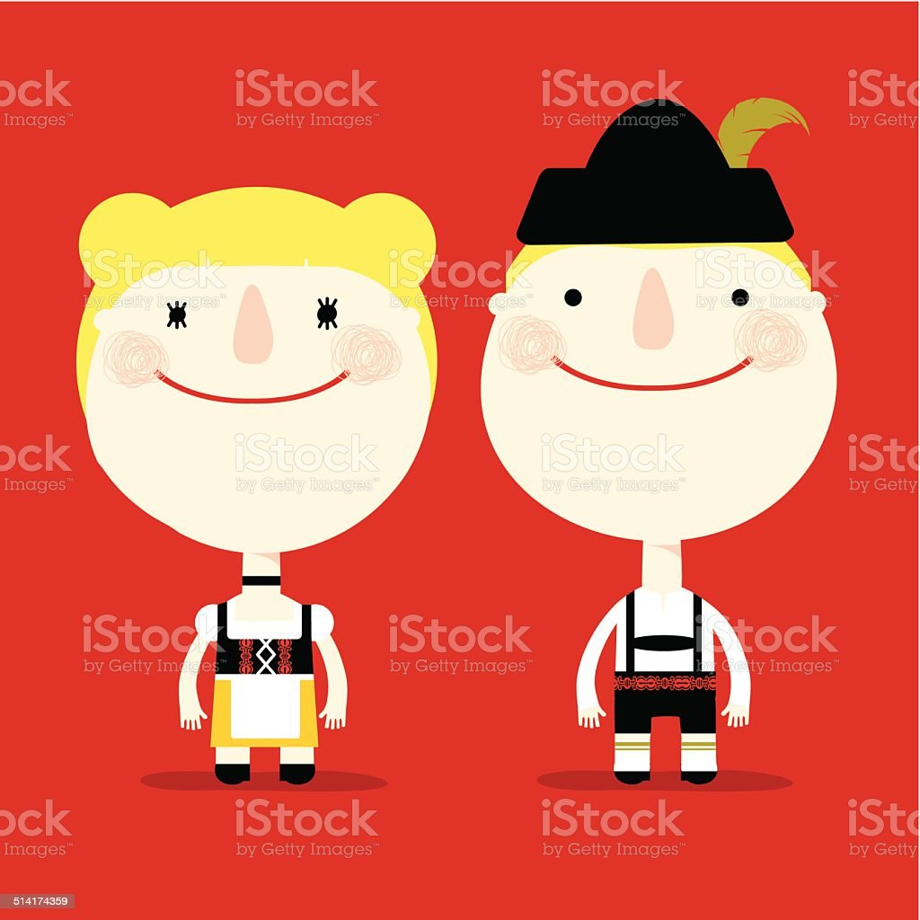 spanish couple vector art illustration