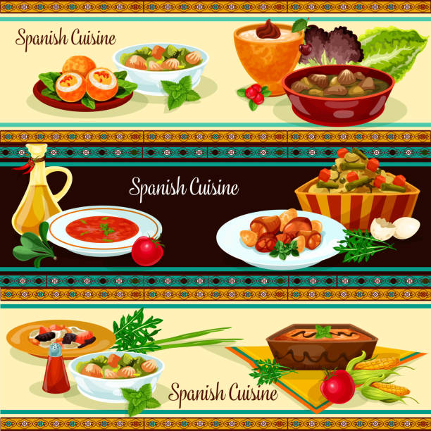 ilustrações, clipart, desenhos animados e ícones de bandeira de cozinha espanhola, com comida tradicional - comida espanhola