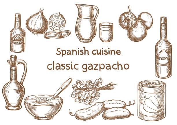 ilustraciones, imágenes clip art, dibujos animados e iconos de stock de cocina española. dibujo de vector de ingredientes gazpacho clásico. - comida española