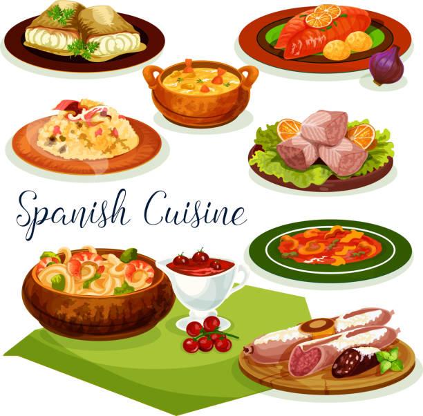 ilustraciones, imágenes clip art, dibujos animados e iconos de stock de diseño de icono de dibujos animados de la cocina española cena menú - comida española