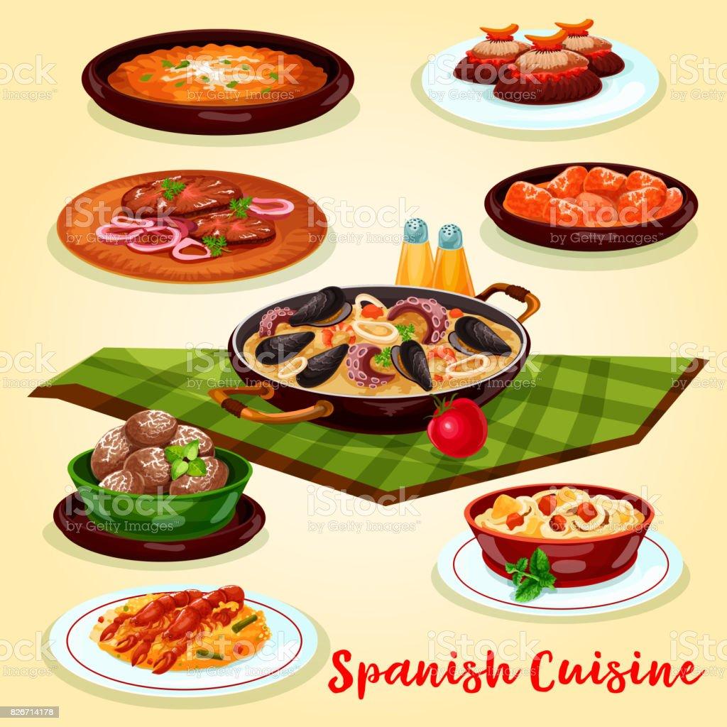 Diseño De Carteles De Dibujos Animados De La Cocina Española Cena ...