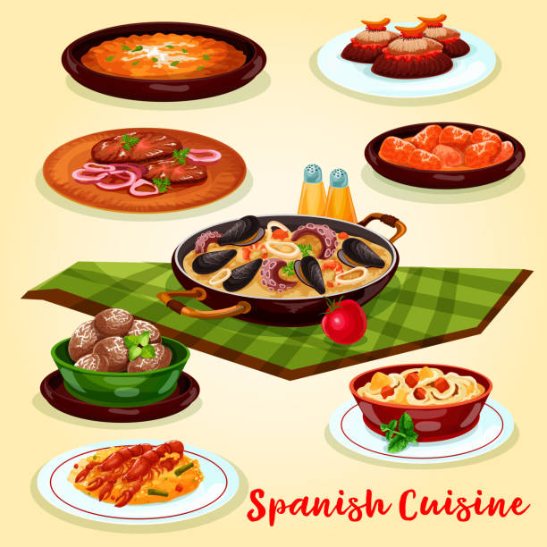 stockillustraties, clipart, cartoons en iconen met spaanse keuken diner menu cartoon posterontwerp - paella