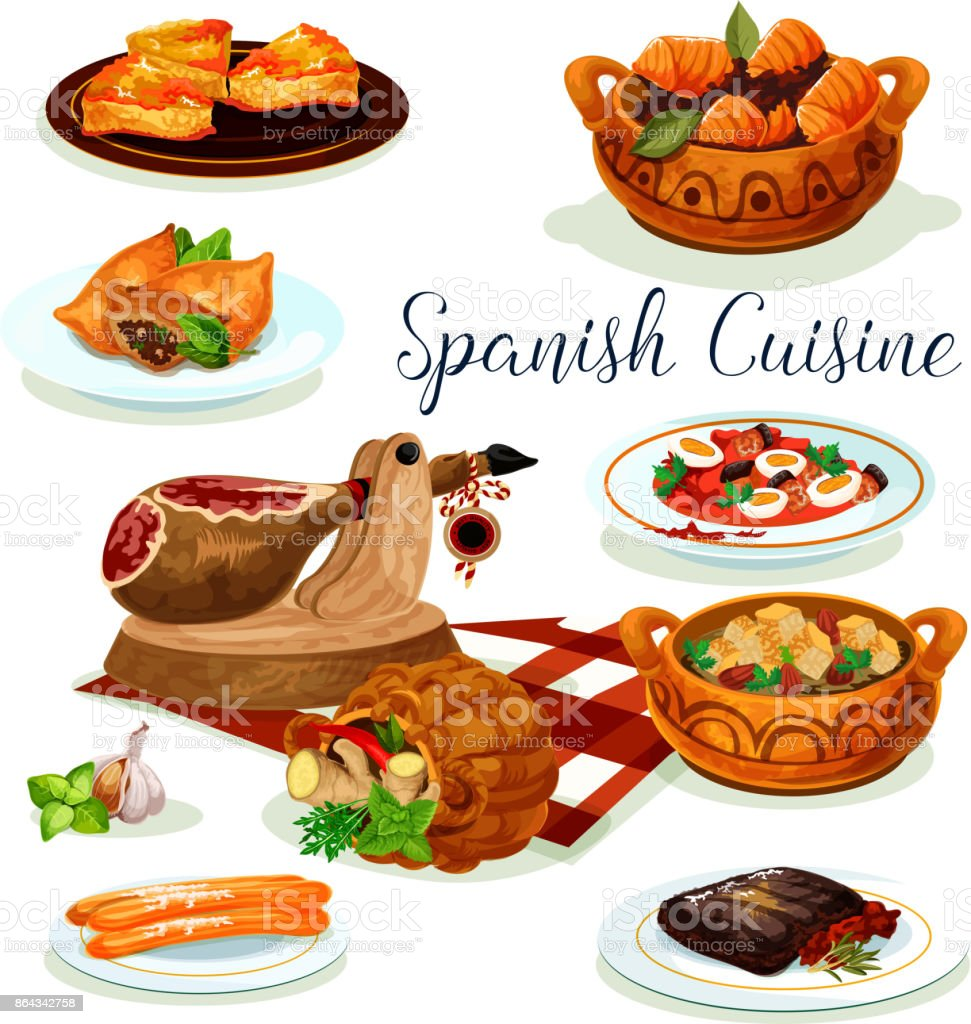 Diseño De Cartel De Menú De Cena De Cocina Española - Arte vectorial ...