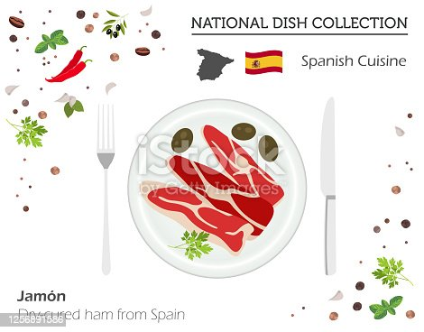Spanish Cuisine. European national dish collection. Dry-cured ham jamon from Spain isolated on white, infographic. Vector illustration