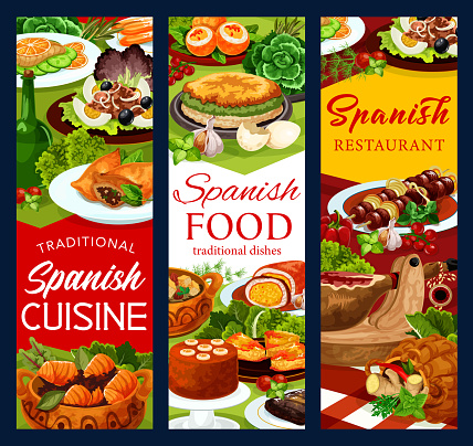 Spanish cuisine food banners, fish and meat dishes