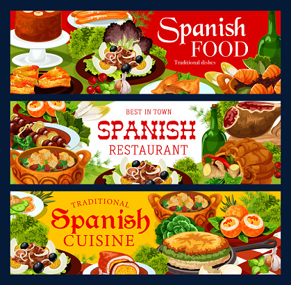 Spanish cuisine food banners of meat and fish