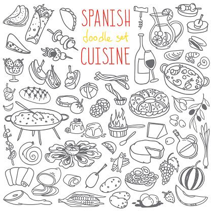 Spanish cuisine food doodles set.  Paella, jamon, tortilla, tapas, sangria, churros.