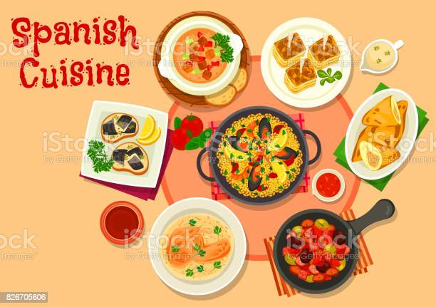 Spanish cuisine healthy dinner dishes icon vector id826705606?b=1&k=6&m=826705606&s=612x612&h=f0etg2mbp27bglmqipb 1fcflc4jg7phk5vp1nugggq=