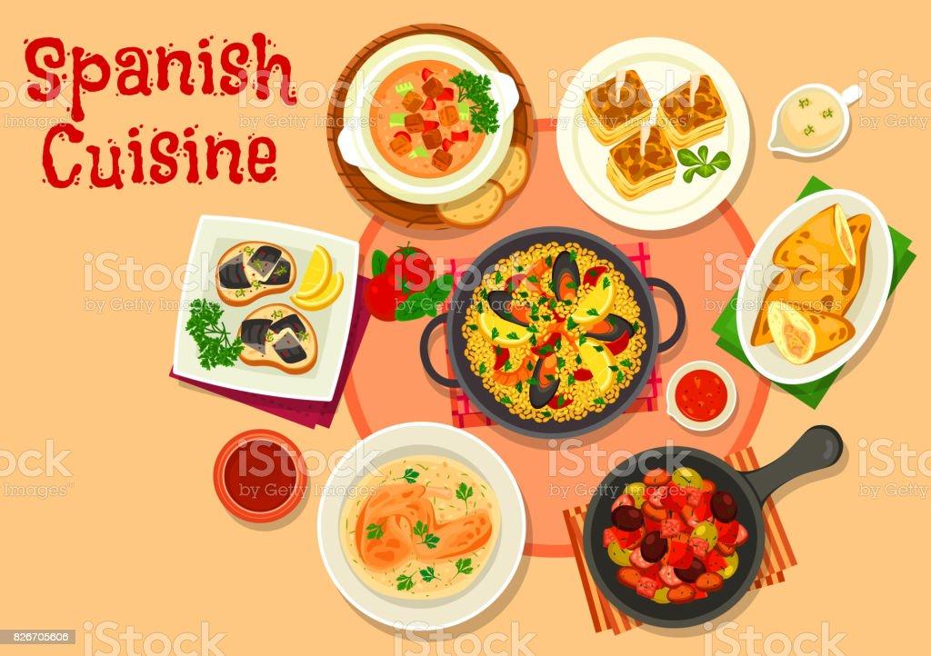 Ícone de pratos de jantar saudável cozinha espanhola - ilustração de arte em vetor