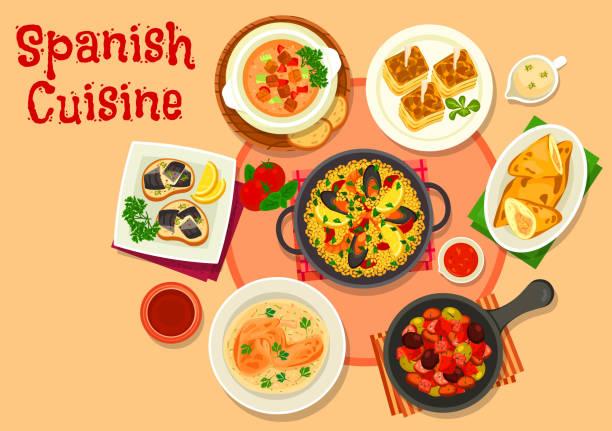 ilustraciones, imágenes clip art, dibujos animados e iconos de stock de icono de platos de cocina española cena saludable - comida española