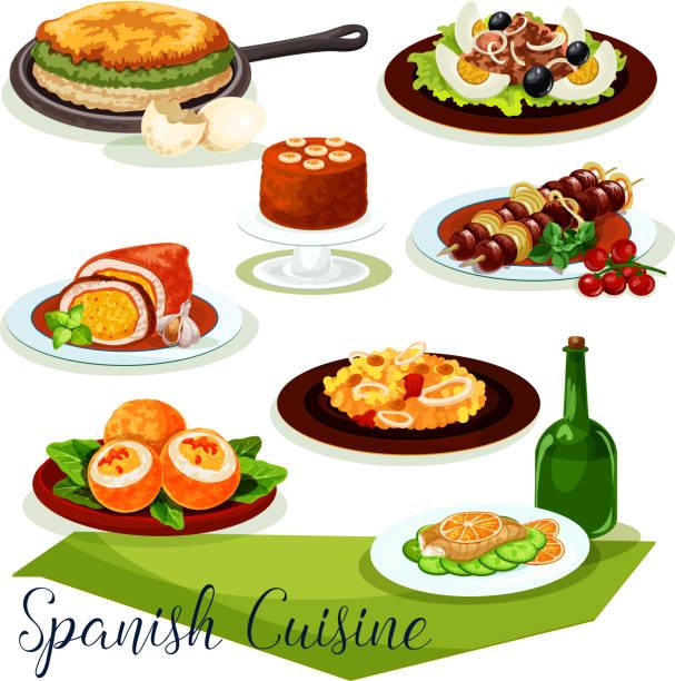ilustraciones, imágenes clip art, dibujos animados e iconos de stock de diseño de icono de la cocina española con carnes y mariscos - comida española