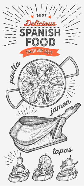 stockillustraties, clipart, cartoons en iconen met spaanse keuken illustraties-tapas, paella, jamon, voor restaurant. vector hand getekende poster voor catalaans café en bar. ontwerp met belettering en doodle vintage graphic. - paella