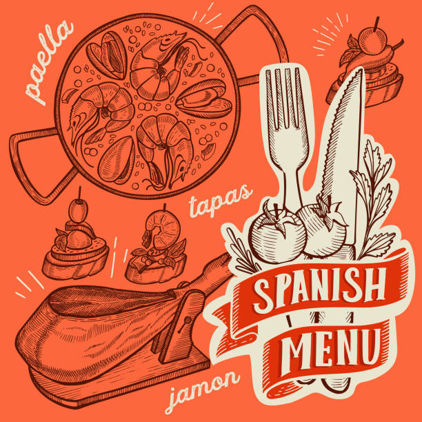 stockillustraties, clipart, cartoons en iconen met spaanse keuken illustraties-tapas, paella, sangria, jamon, churros, calcots, turron voor restaurant. vector hand getekende poster voor catalaans café en bar. ontwerp met belettering en doodle vintage graphic. - paella
