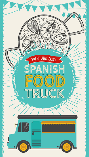 Spanish cuisine illustrations - tapas, paella, sangria, jamon, churros, calcots, turron for food truck. Vector hand drawn poster for catalan restaurant and bar. Design with lettering and doodle vintage graphic.