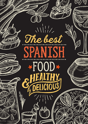 Spanish cuisine illustrations - tapas, paella, sangria, jamon, churros, calcots, turron for restaurant. Vector hand drawn poster for catalan cafe and bar. Design with lettering and doodle vintage graphic.