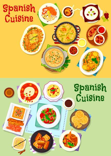 ilustraciones, imágenes clip art, dibujos animados e iconos de stock de icono de platos de cocina española escenografía - comida española