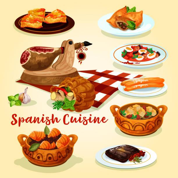 ilustraciones, imágenes clip art, dibujos animados e iconos de stock de cartel de platos de cocina española - comida española