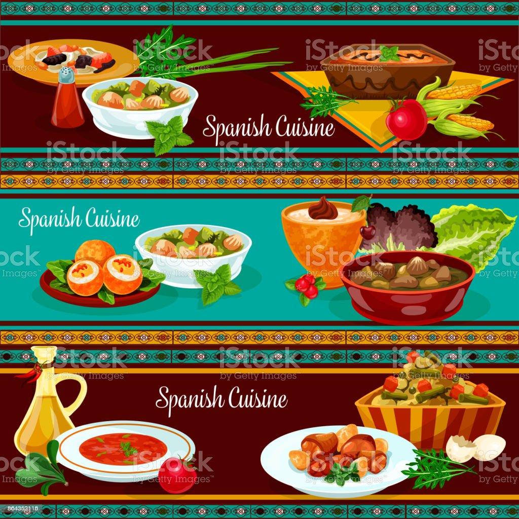 Spanish cuisine restaurant dinner banner set vector art illustration