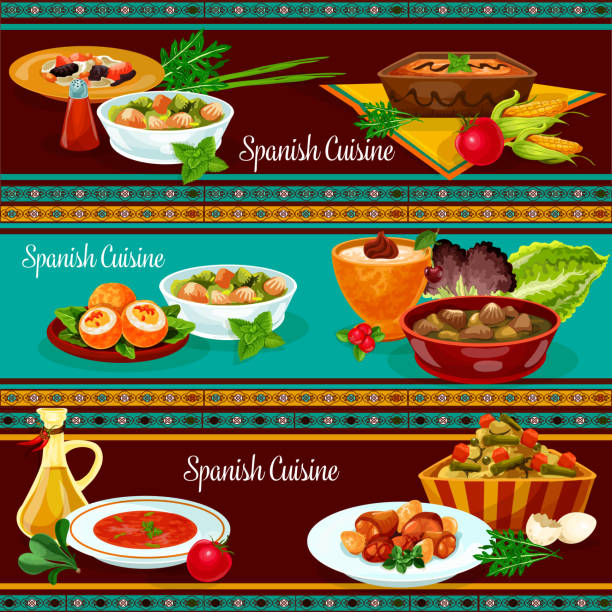 Spanish cuisine restaurant dinner banner set vector art illustration