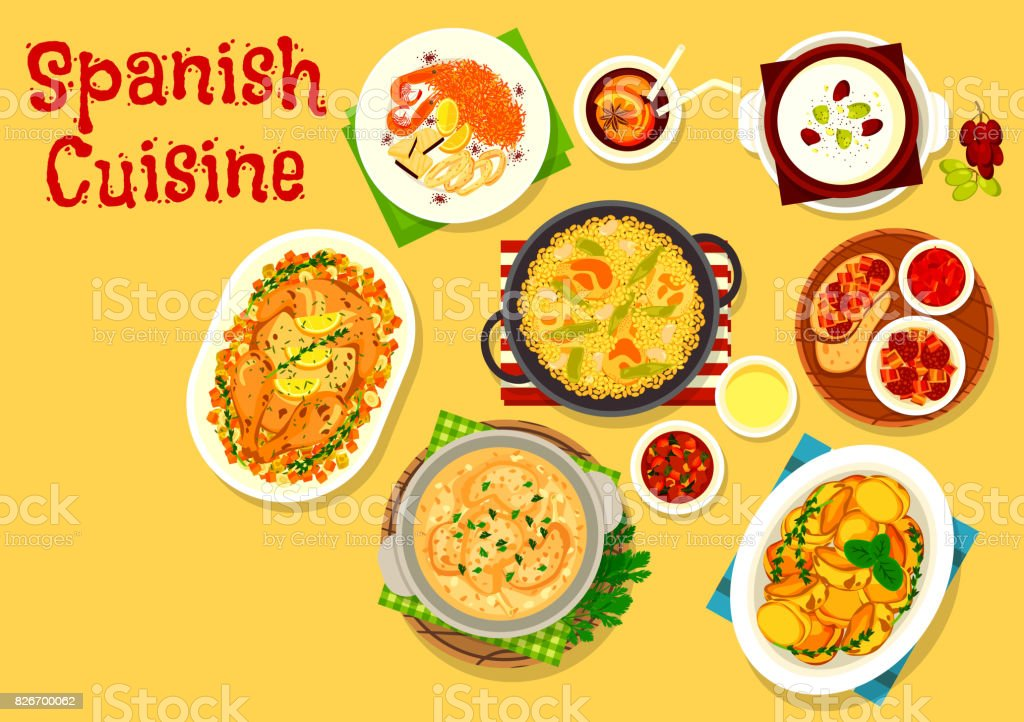 Spanish cuisine seafood and meat dishes icon vector art illustration