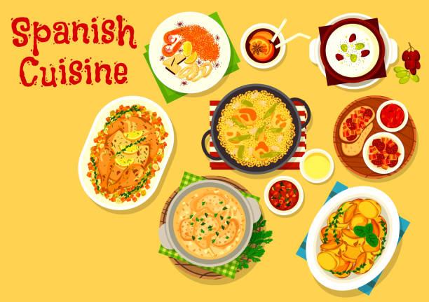 ilustraciones, imágenes clip art, dibujos animados e iconos de stock de icono de platos de mariscos y carnes cocina española - comida española