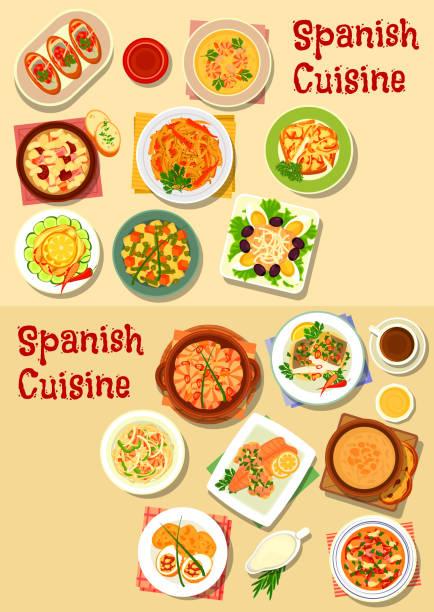 ilustraciones, imágenes clip art, dibujos animados e iconos de stock de icono de platos de pescados y mariscos cocina española escenografía - comida española
