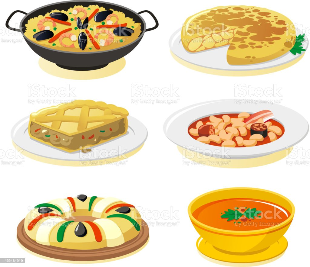 Spanish dishes vector art illustration