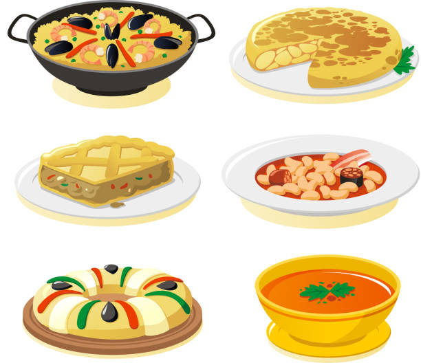 Spanish dishes vector art illustration