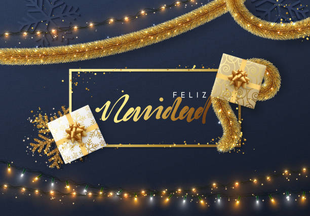Spanish Feliz Navidad, Christmas background with bright composition design. Spanish Feliz Navidad, Christmas background with bright composition design. Xmas sparkling lights garland with gifts and golden tinsel. Vector banner, posters, cards, website. navidad stock illustrations