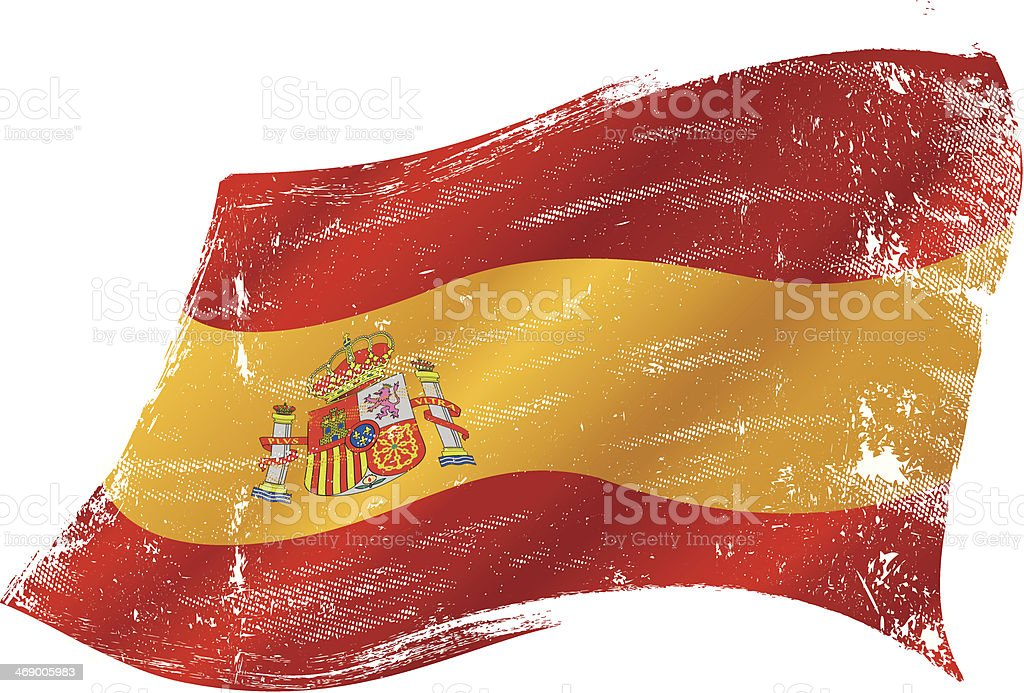 Spanish flag grunge vector art illustration